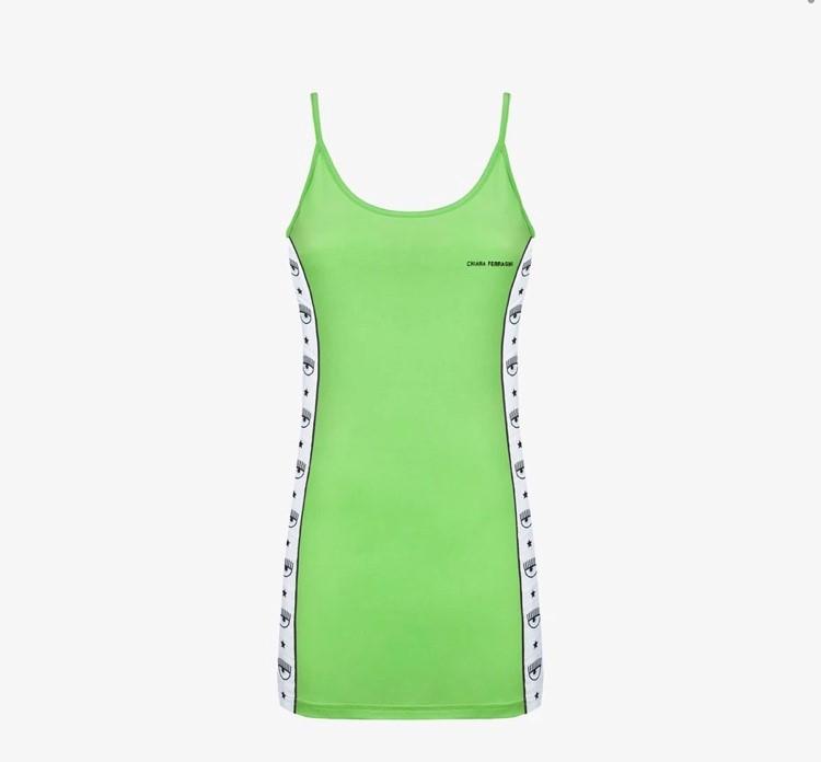 Vestito verde logomania chiara ferragni