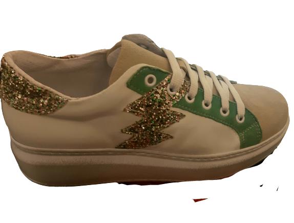 Sneakers donna | camoscio beige |oelle bianca |profili pelle verde | dettagli glitter multicolor | cerniera laterale interna | Made in Italy