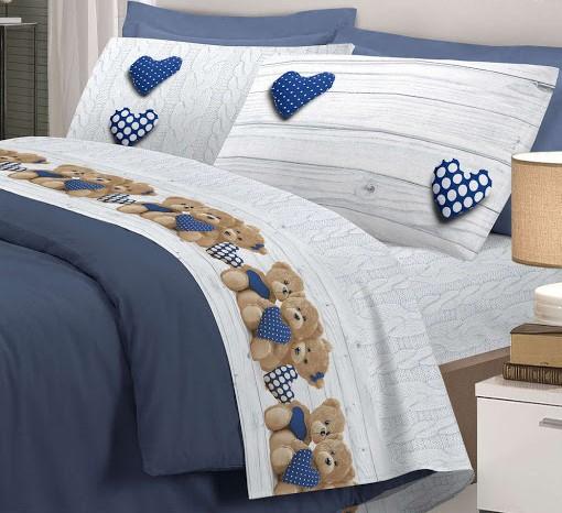 Lenzuola orsetti in variante blu