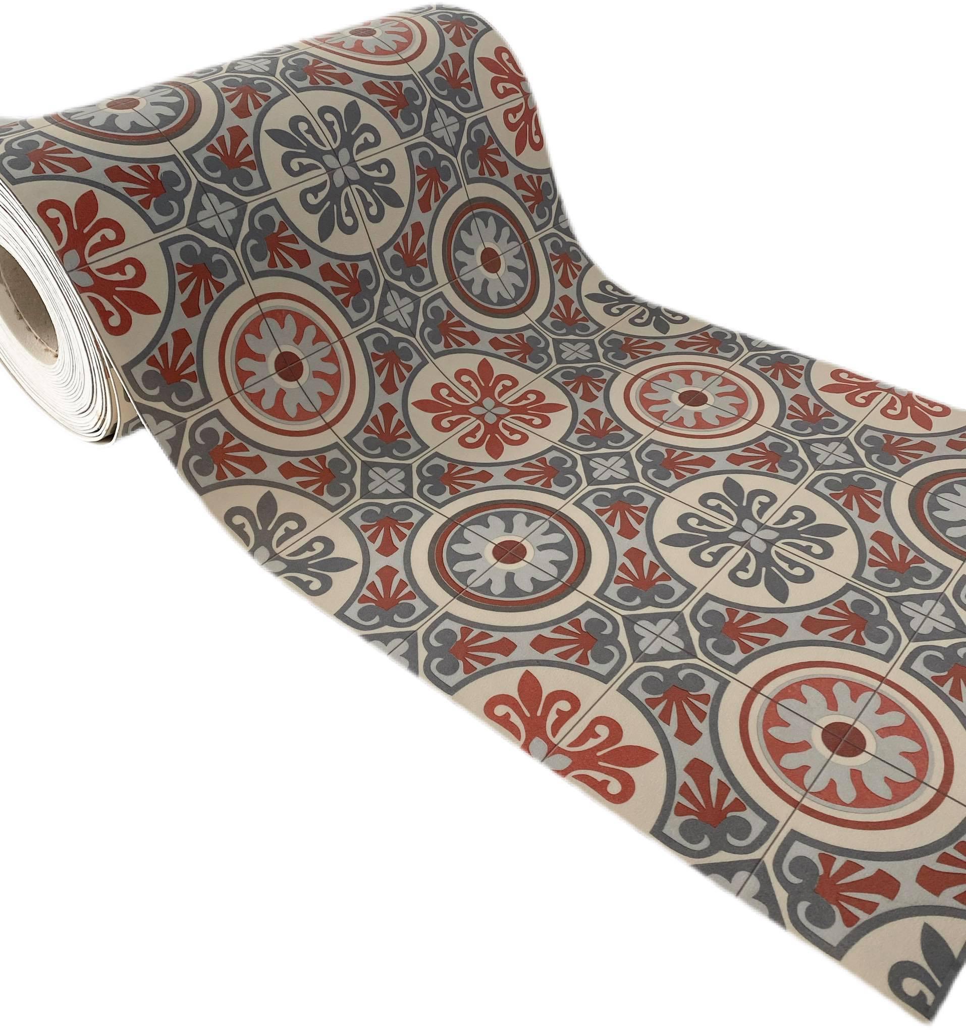 tappeto in vinile effetto maioliche