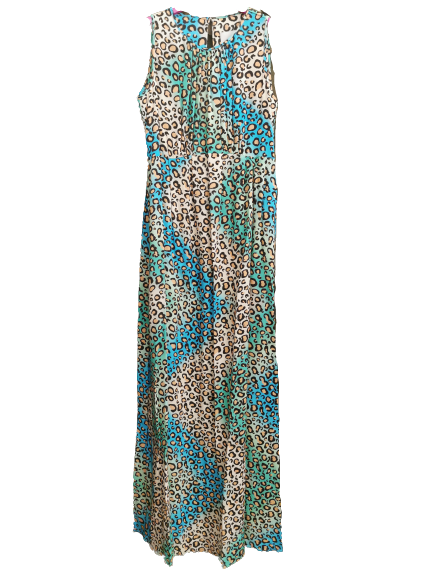 Abito lungo donna | multicolor | fantasia leopardata | viscosa | smanicato | Made in Italy