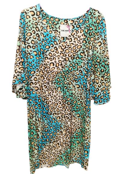 Miniabito donna | multicolor | fantasia leopardata | manica 3/4 | viscosa |scolloa V | Made in Italy