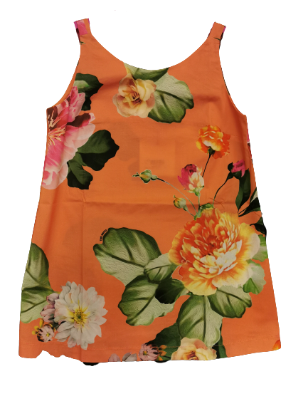 Canotta floreale donna | svasata | sfondo arancio | 100% cotone  | Made in Italy