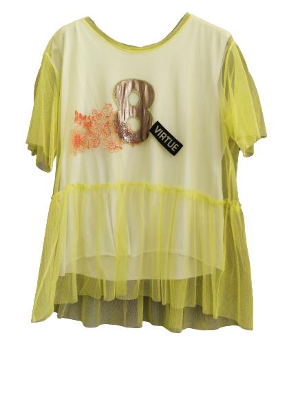 T-shirt donna giallo fluo | sovrapposizione in tulle | con balza | numero applicato | manica corta | Made in Italy