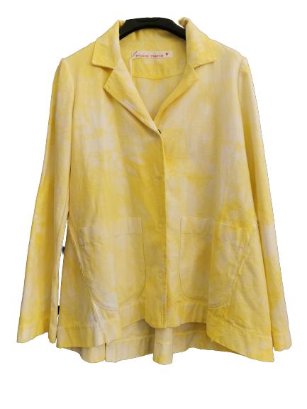 Giacca donna giallo fluo   tye&dye   bottoni anteriori   collo uomo   manica lunga   tasche anteriori   Made in Italy