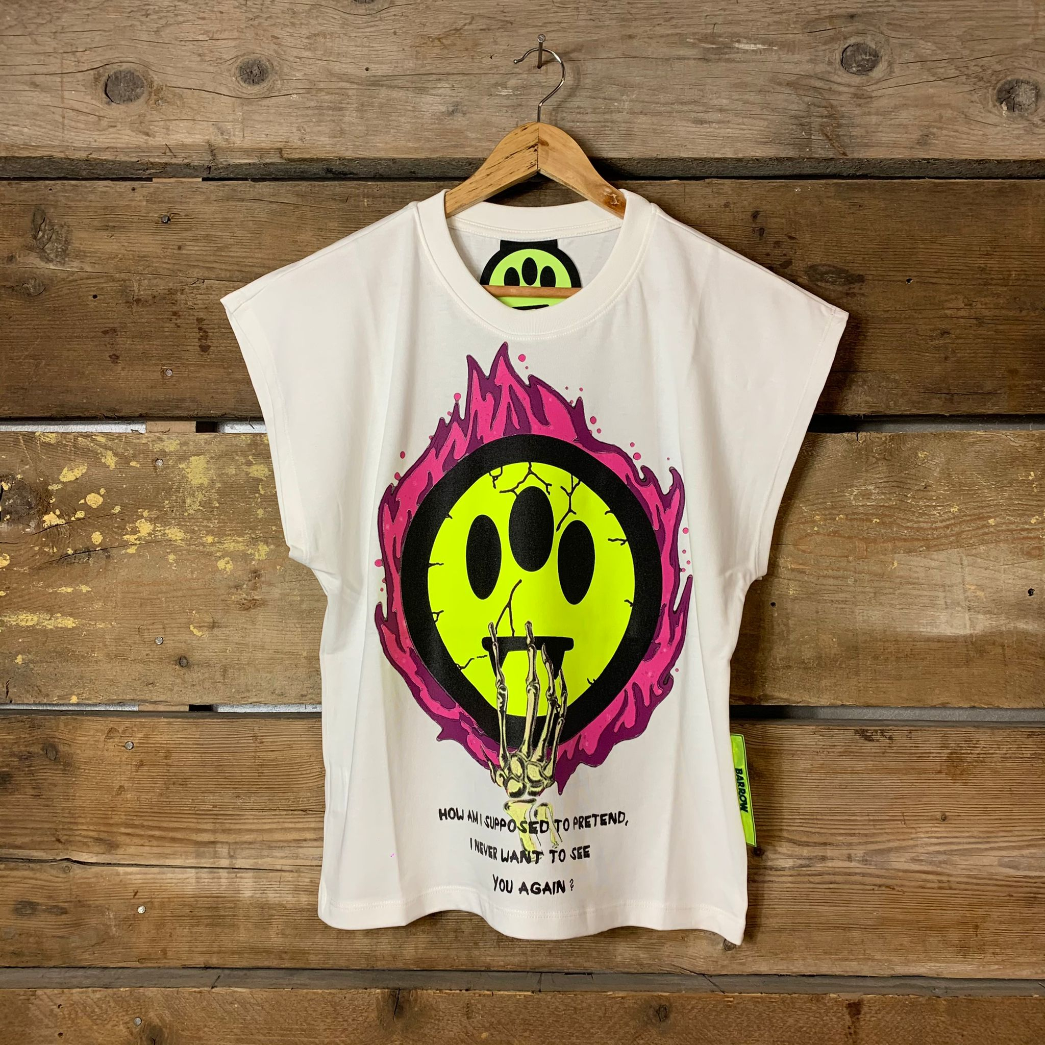 Maglia Barrow Senza Manica Donna Cropped T-Shirt Stampa Smile  Teschio Bianca