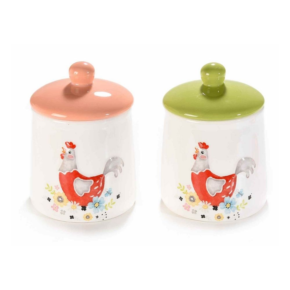 Set due barattoli in ceramica con decoro gallina colorata
