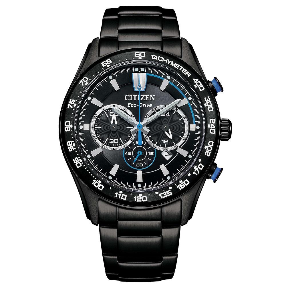 Citizen Crono Sport Cassa acciaio I.P. nero, quadrante nero