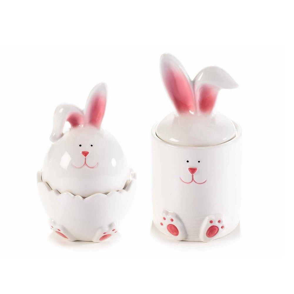 Due contenitori coniglio ceramica lucida bianca