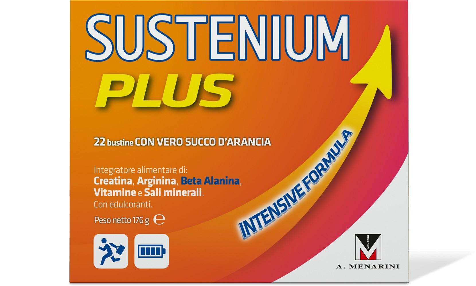 SUSTENIUM PLUS 22 BUSTINE CON CREATINA, ARGININA, BETA ALANINA, VITAMINA C, VITAMINA B1, FERRO, ZINCO, MAGNESIO. AZIONE ENERGIZZANTE IN CASO DI STANCHEZZA, STRESS E AFFATICAMENTO. ASSICURA TONICITÀ.