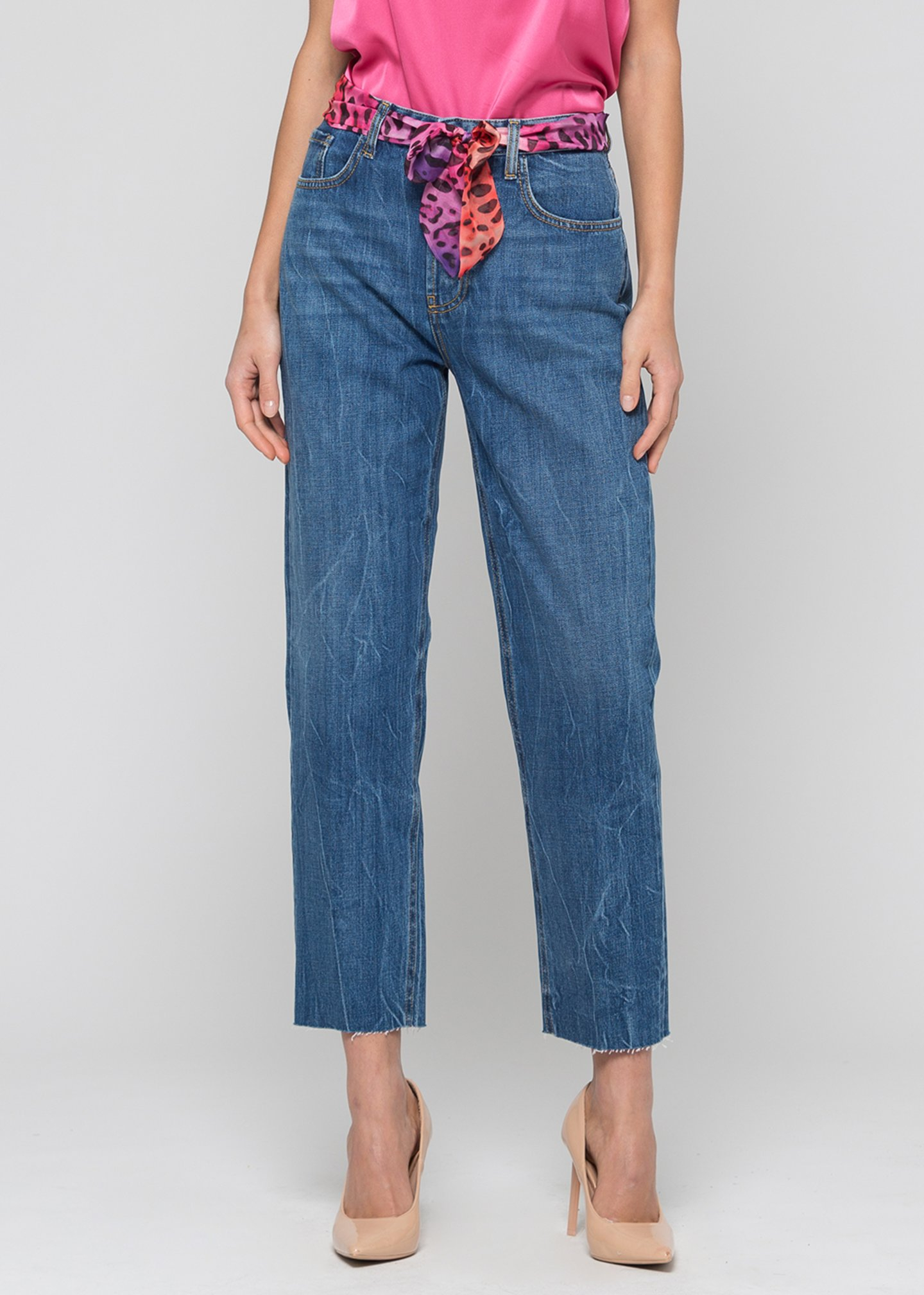 KOCCA UMA Jeans denim blu vita alta cintura fantasia