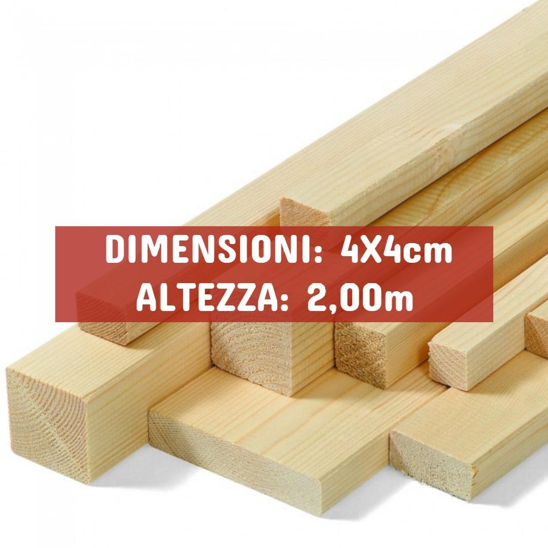 Listello Abete Piallato - DIMENSIONI: 4X4cm - Altezza: 2,00mt - Scegli tu le misure!