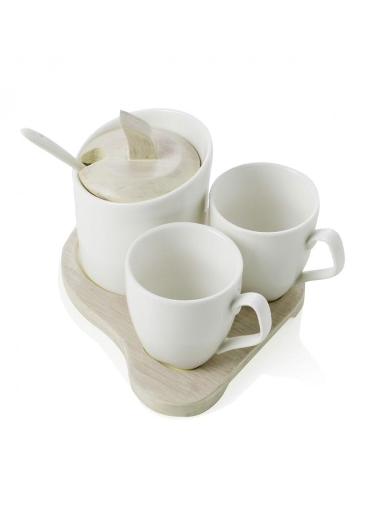 COFFEE SET SQUARE 3 PEZZI IN PORCELLANA BIANCA CON VASSOIO IN BAMBOO NATURALE