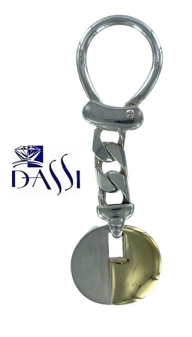 Porta chiavi in argento 925 e placa oro 750 Bondi