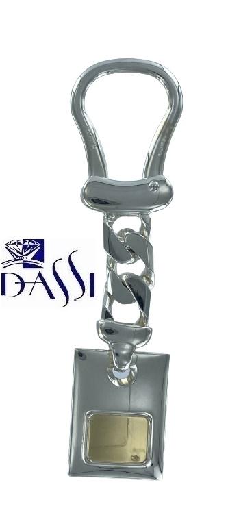 Porta chiavi in argento 925 e placa oro 18kt Bondi