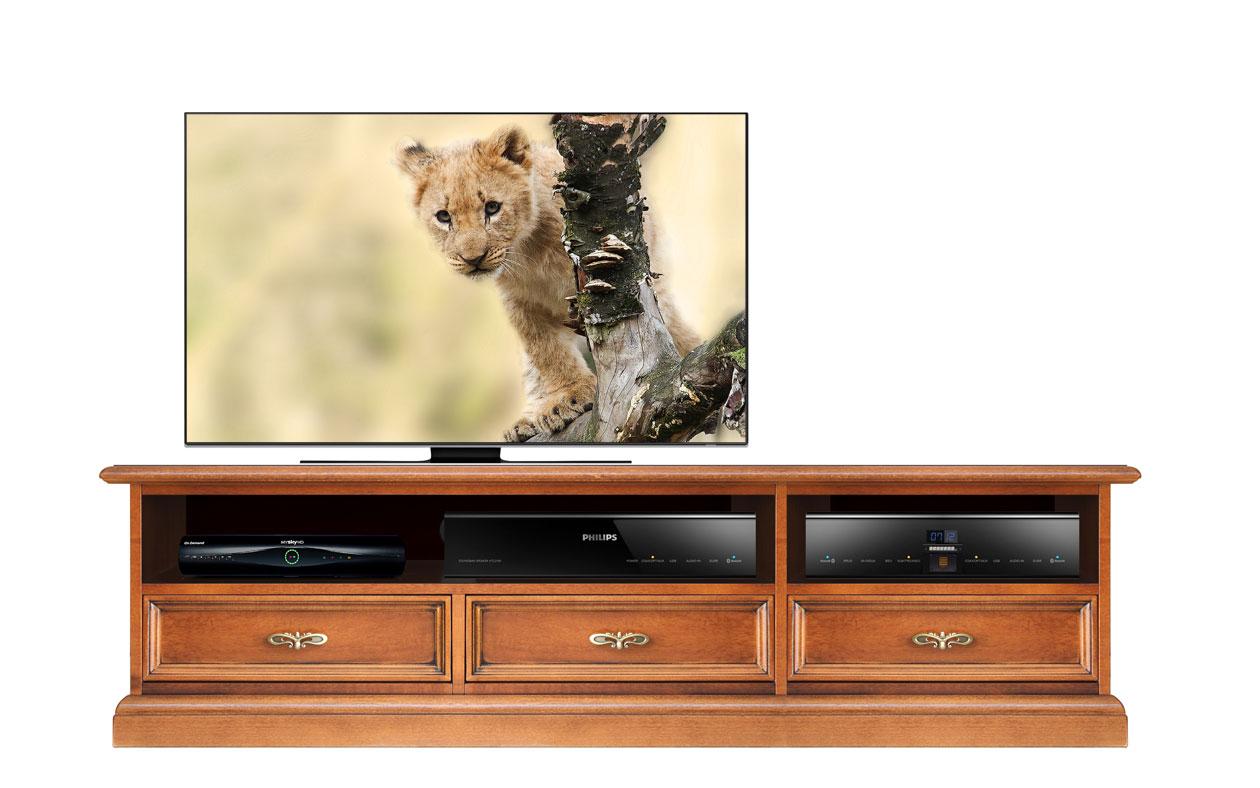 Mueble tv vano central barra de sonido cajones