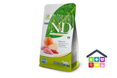 FARMINA N&D gatto | LINEA GRAIN FREE | GUSTO CINGHIALE E MELA - 5Kg