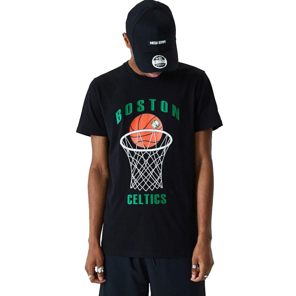 New Era T-Shirt Celtics Nera da Uomo