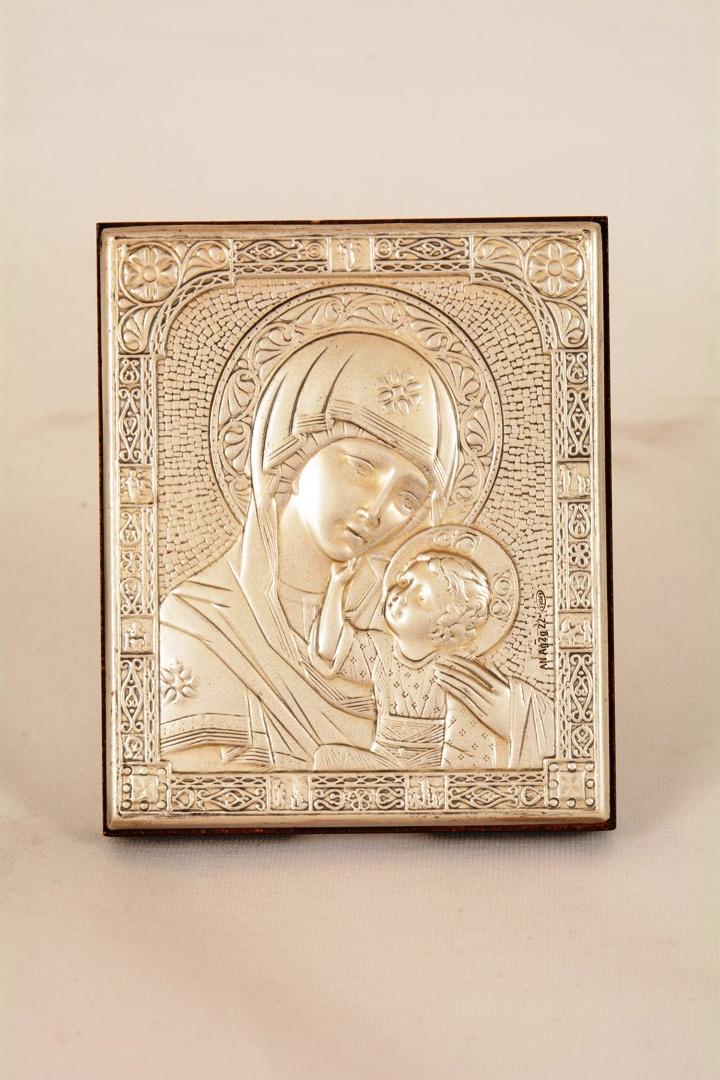 Icona lamina argento Madonna con bambino cm 6x7