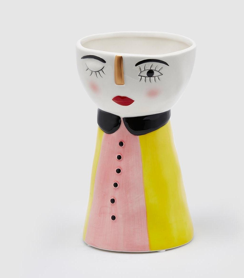 Vaso ceramica viso rosa
