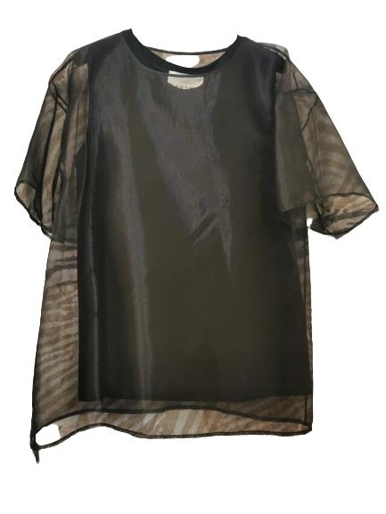 Maglia donna nera| doppiata in cotone | maglia in tulle m/m |canotta sotto in cotone stretch | Made in Italy