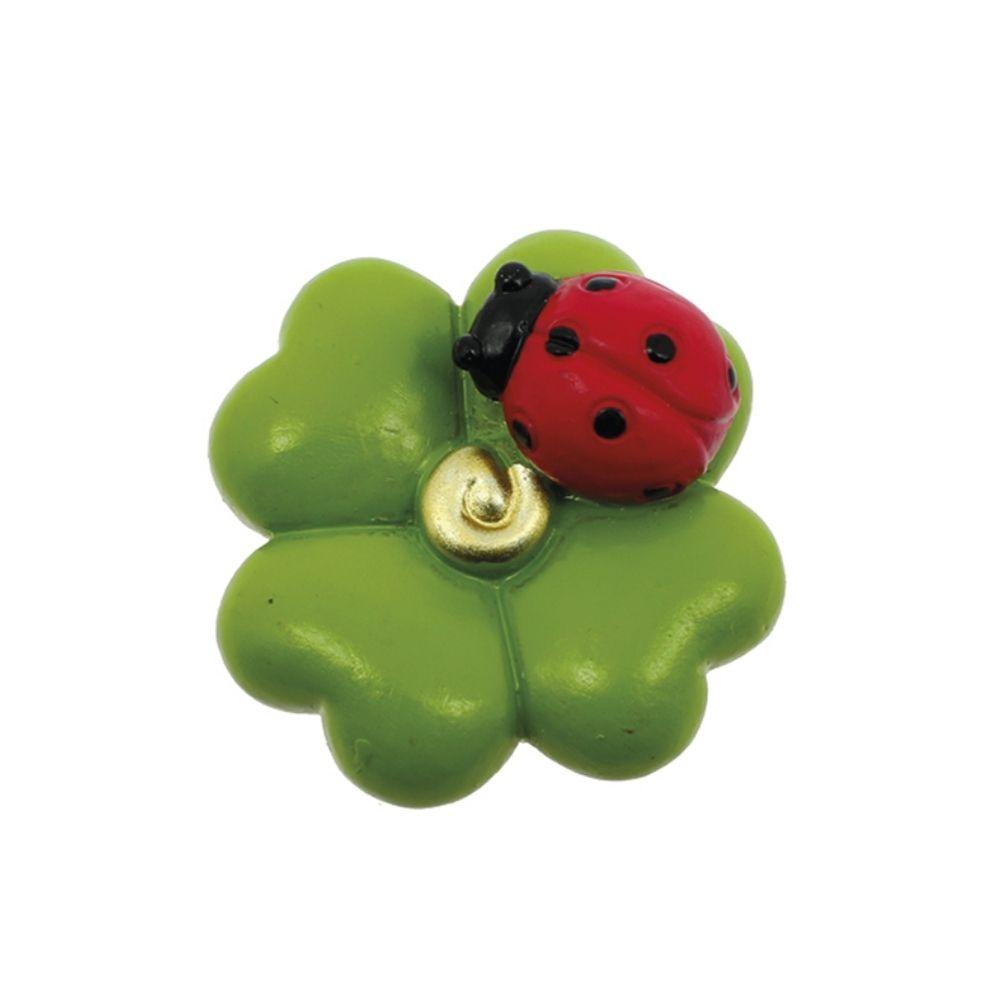 Magnete quadrifoglio verde con coccinella Laurea