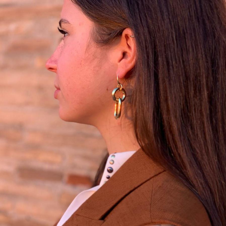 Orecchini pendenti con cerchio oro Francesca Bianchi