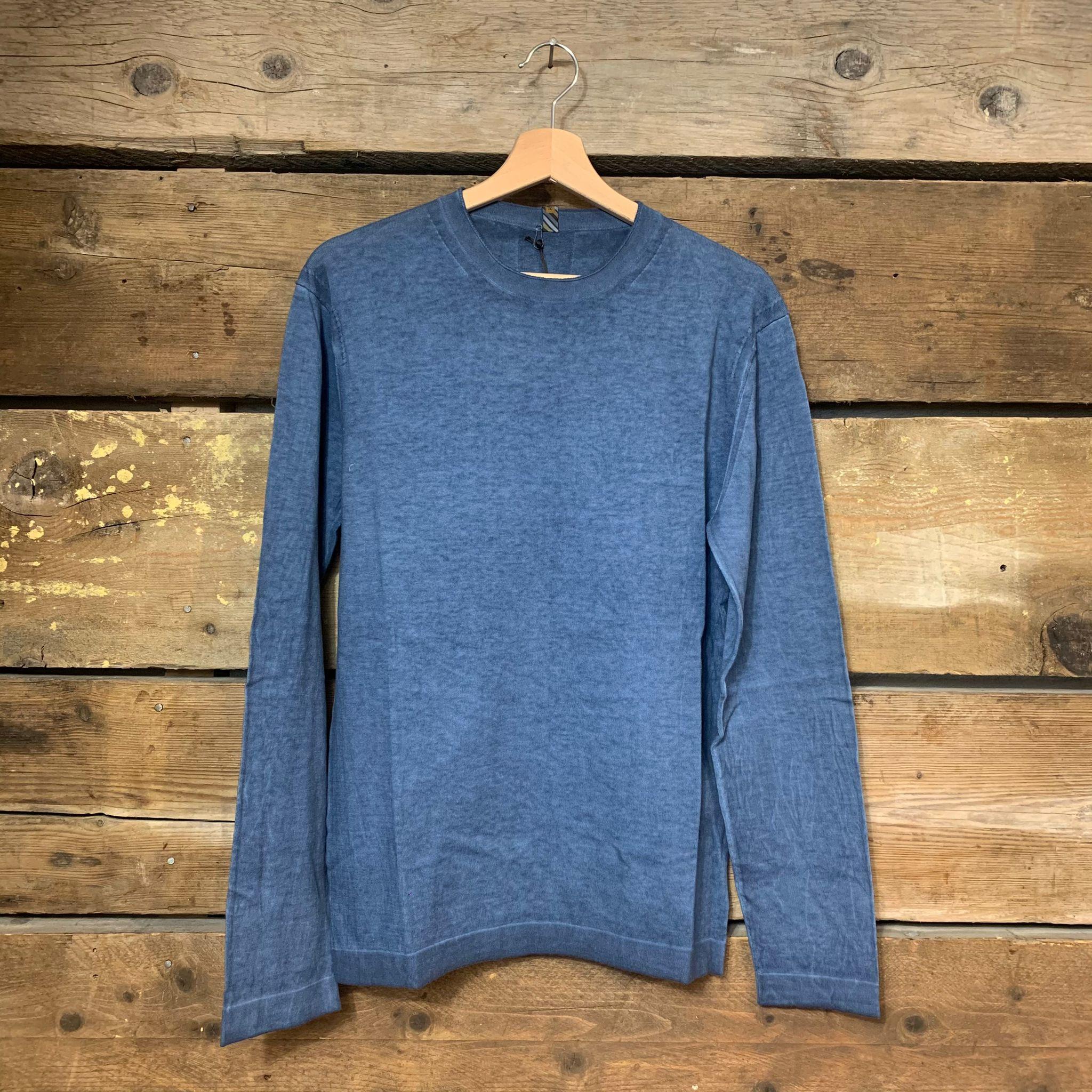 Maglione Hosio Uomo Girocollo Vintage Sfumata 100% Cotone Azzurro
