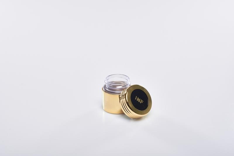 Vasetto vetro corazza metallo dorato per oli santi