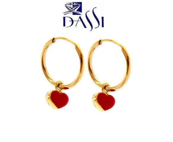 Orecchini a cerchio in oro giallo 18kt con pendente a cuore rosso