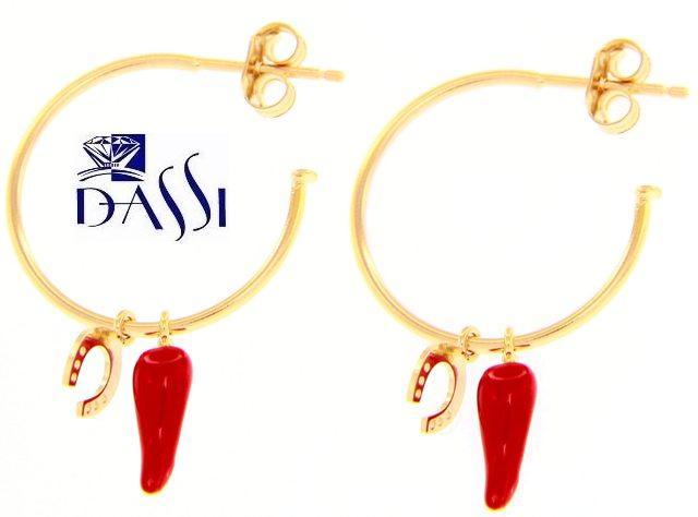 Orecchini a cerchio in oro giallo 18kt con cornetto rosso e ferro di cavallo