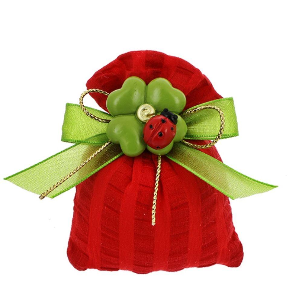 Sacchetto a bustina tessuto righe rosso Laurea