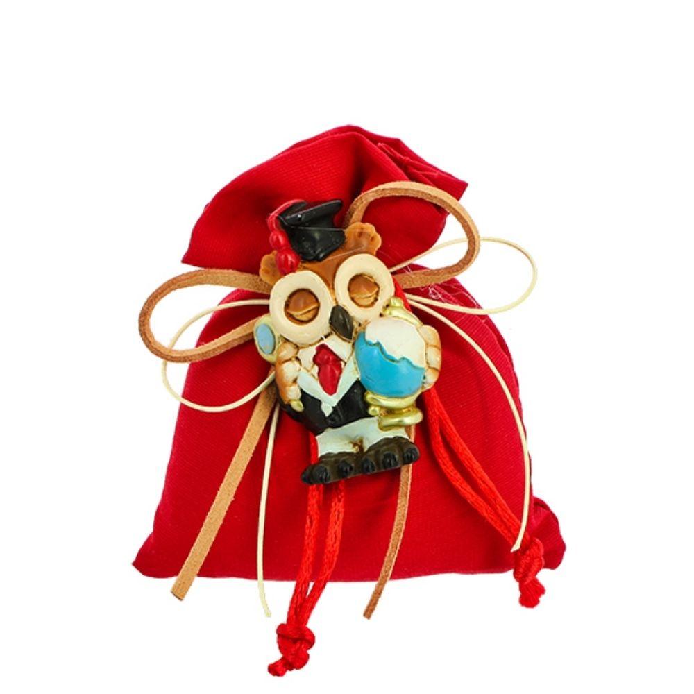 Sacchetto mini busta con tirante tessuto rosso Laurea