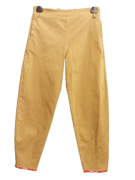 Pantalone donna   colore kaki   elastico in vita   tasca posteriore   cotone stretch   Made in Italy