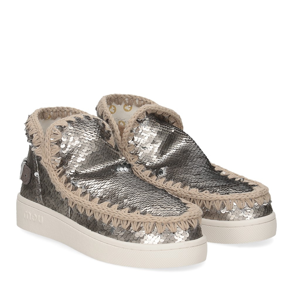 Mou summer eskimo sneaker all sequins big metallic logo gunmetal