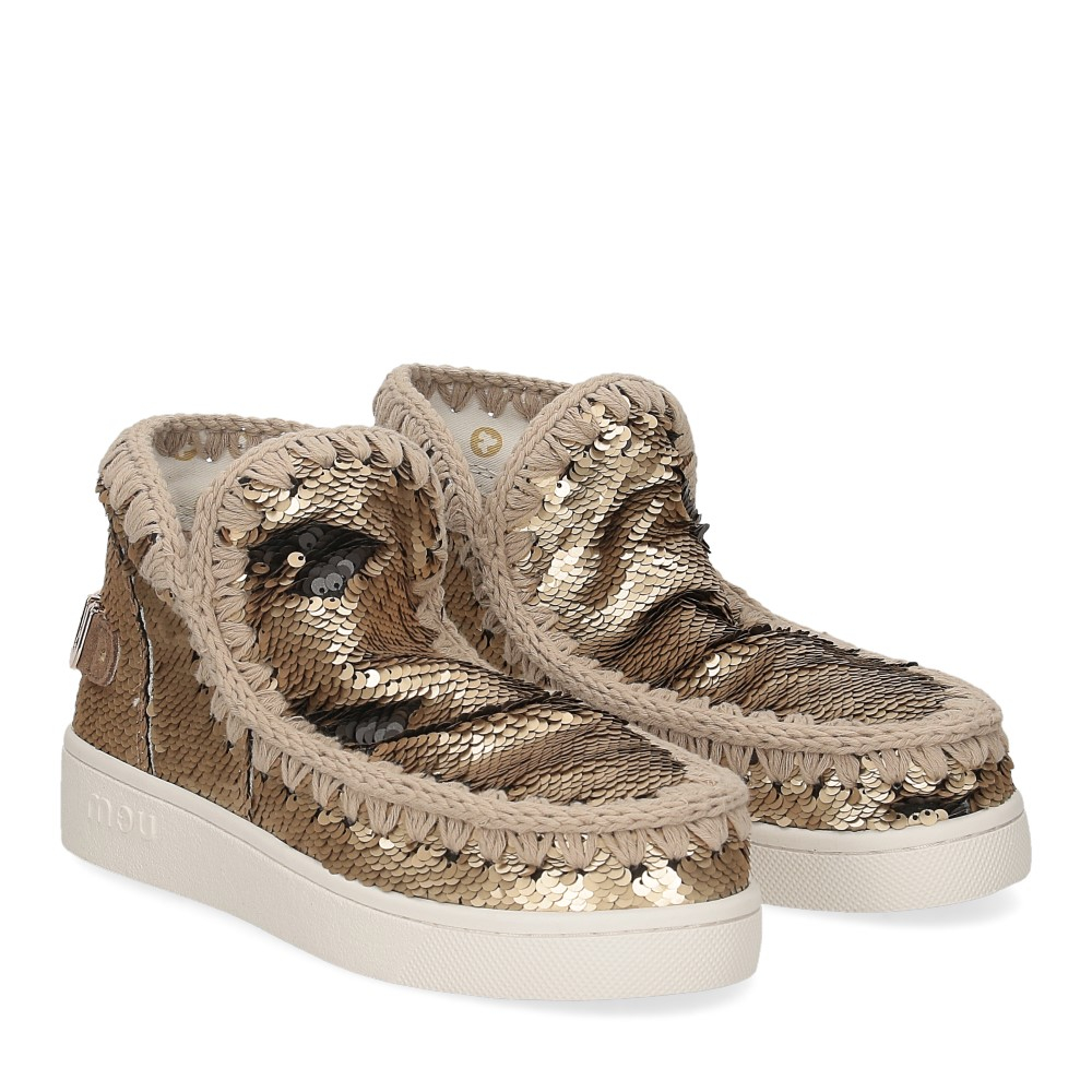 Mou summer eskimo sneaker all sequins big metallic logo gold