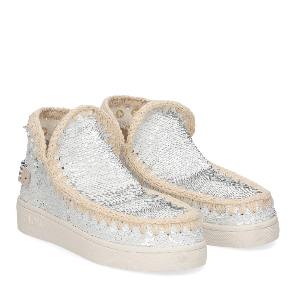 Mou summer eskimo sneaker all sequins big metallic logo white silver