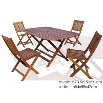 Set Tavolo Rettangolare Con 4 Sedie In Legno Scuro 91x150 cm Sedie Intrecciate Materiale Resistente Giardino Casa Arredare