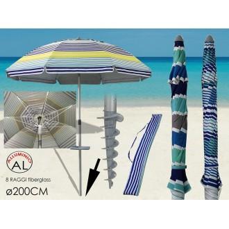 Ombrellone Da Spiaggia Estivo Colorato 200 cm Con Trivella Per Montarlo Facilmente Adatto Estate Riparo Dal Sole