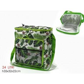 Borsa Termica Colore Verde Tema Tropicale Per Viaggio Capienza 24 Litri Con Tasca Esterna Per Cibo e Alimenti Casa