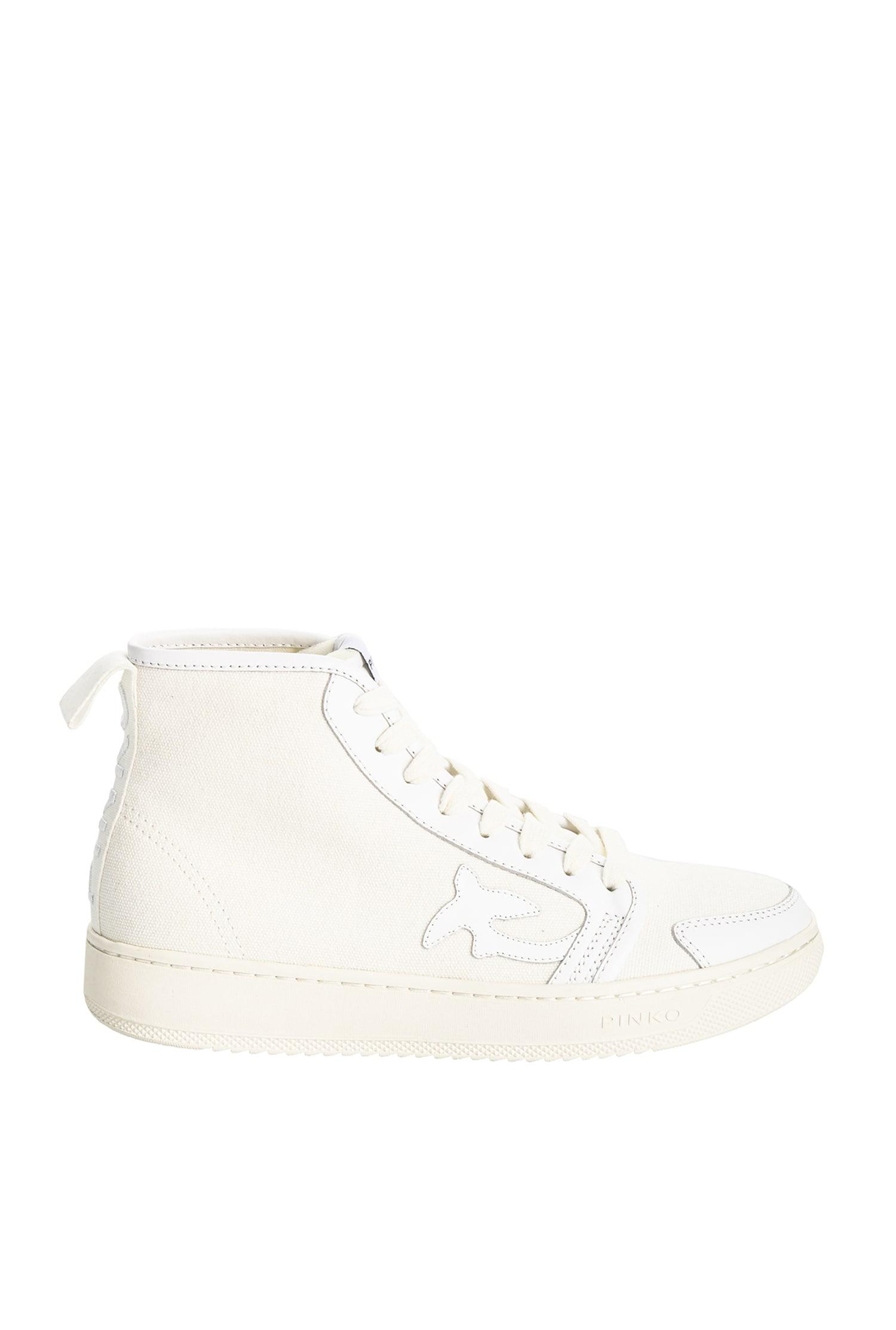 Sneaker Liquirizia High Top 4 in canvas riciclato Pinko