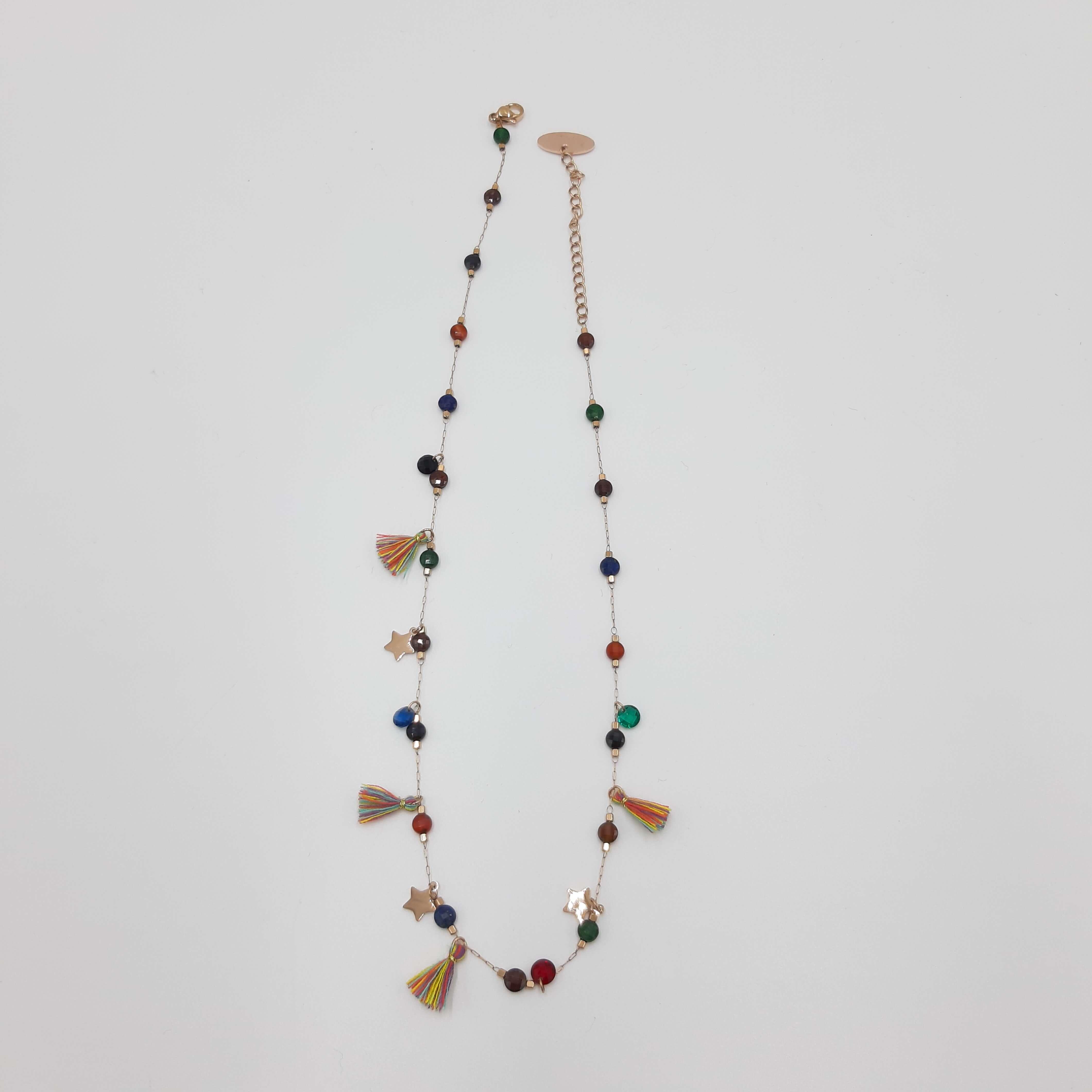 Collana girocollo con nappe e cristalli multicolor Rush