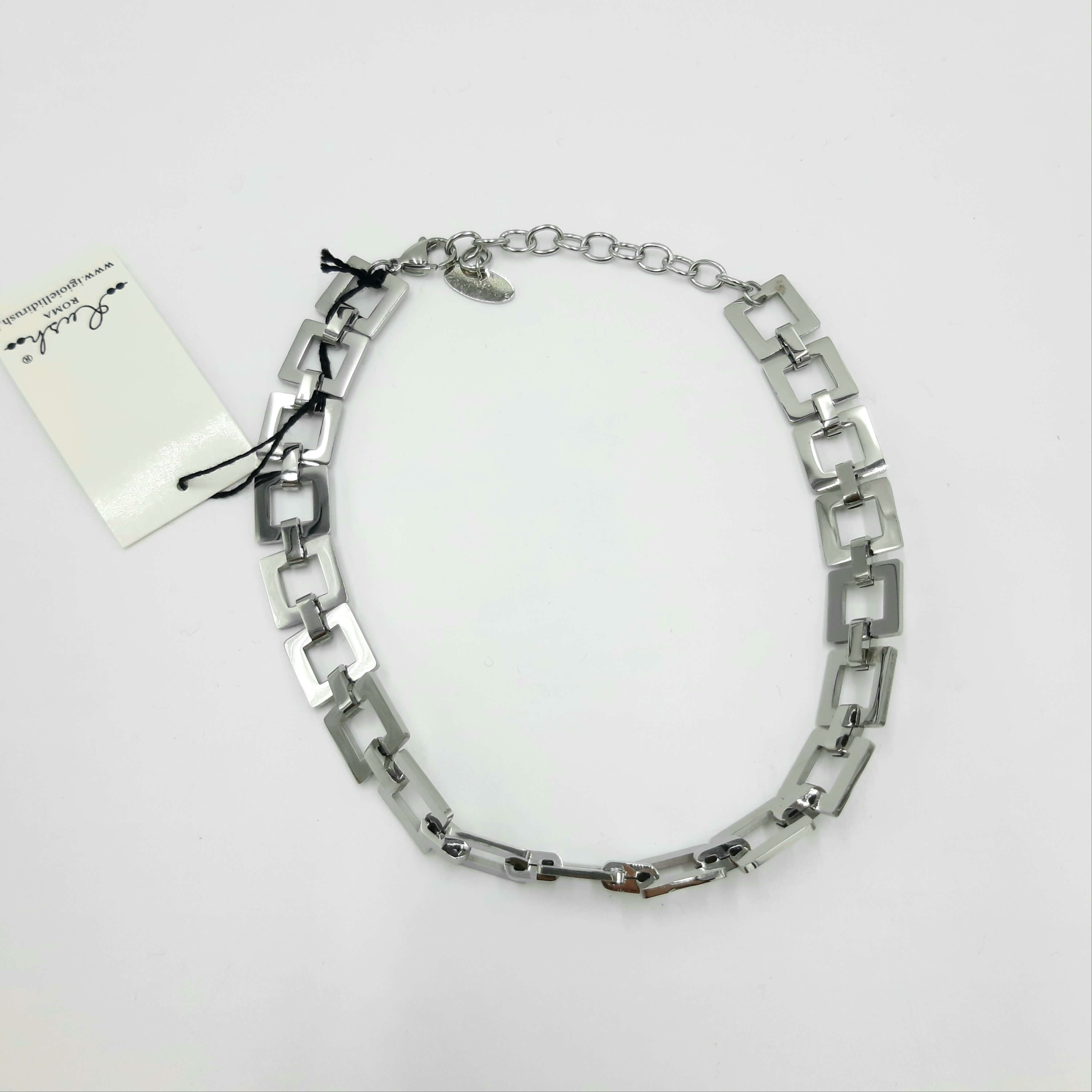 Collana  girocollo geometrica argento Rush
