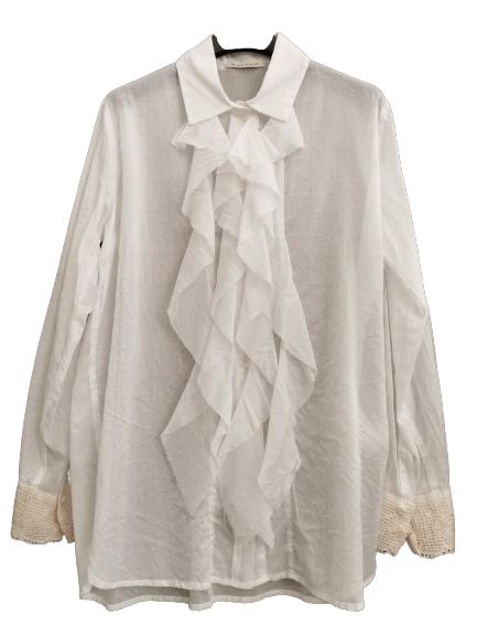 Camicia donna bianca | in garza di cotone | polsino con dettaglio in pizzo| manica lunga | Made in Italy