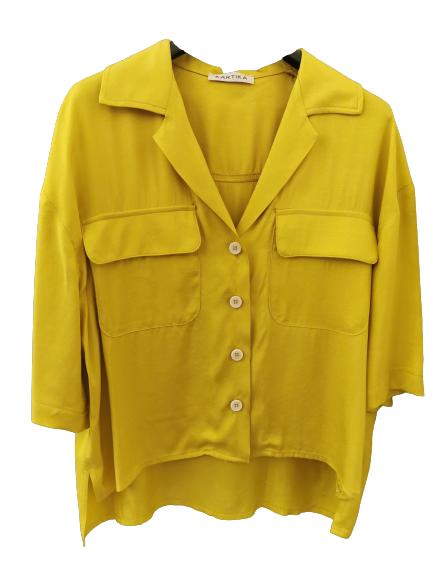 Camicia donna gialla | in viscosa e cotone | mezza manica | con tasche anteriori | leggermente asimmetrica |Made in Italy