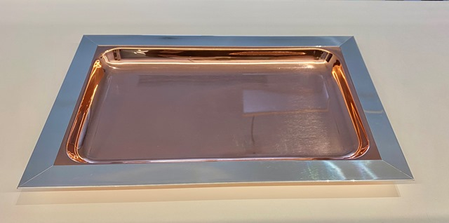 Vassoio rettangolare in argento 925 e rame