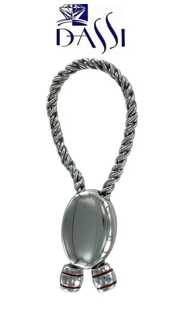 Portachiavi in argento 925  morbido con ciondolo ovale