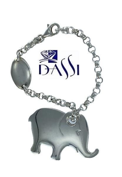 Portachiavi in argento 925 Bondi formato da una catena morbida  e ciondolo a forma di elefante