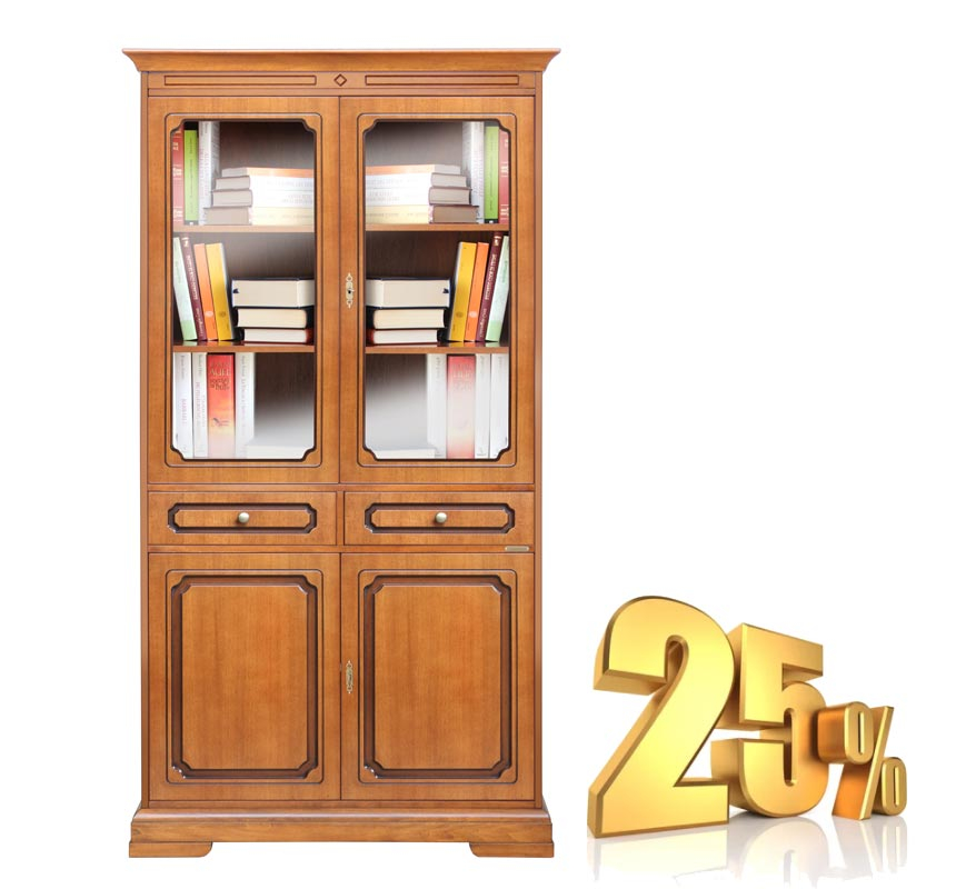 Vitrina estilo clásico 4 puertas 2 cajones - PROMO