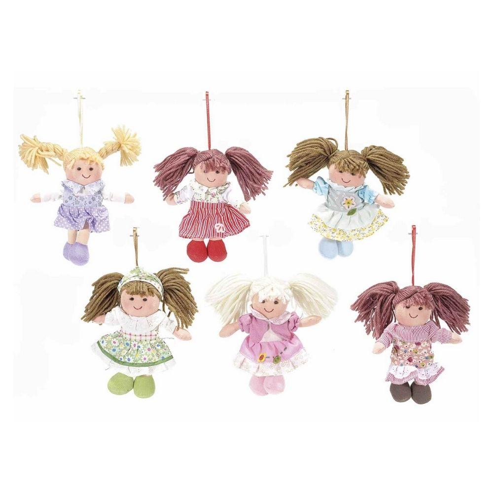 Bambola mini in stoffa imbottita da appendere